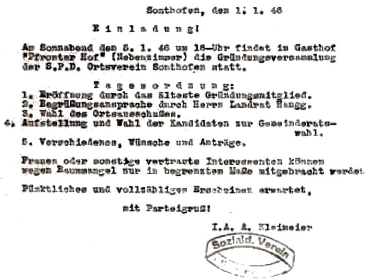 1946 | Einladung Gründungsversammlung